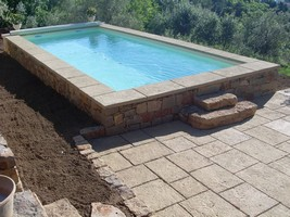 pool paving with granit concrete