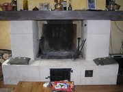 renovation of a fireplace with limestone cladding